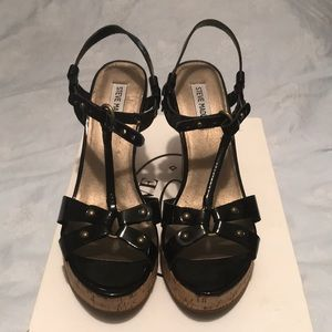 Steve madden patent leather wedge heels